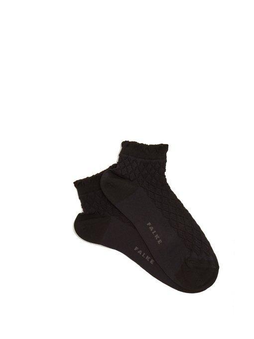Falke Open Work  Cotton-blend Socks In Black