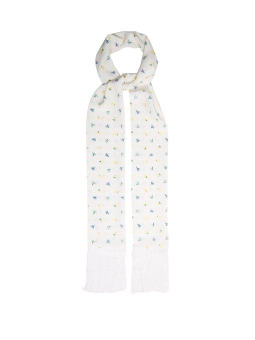 Joseph Fringed Floral-print Silk Scarf In White