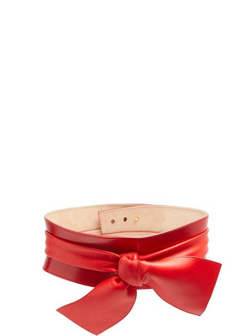Alexander Mcqueen Wide Bow-embellished Leather Belt In Red