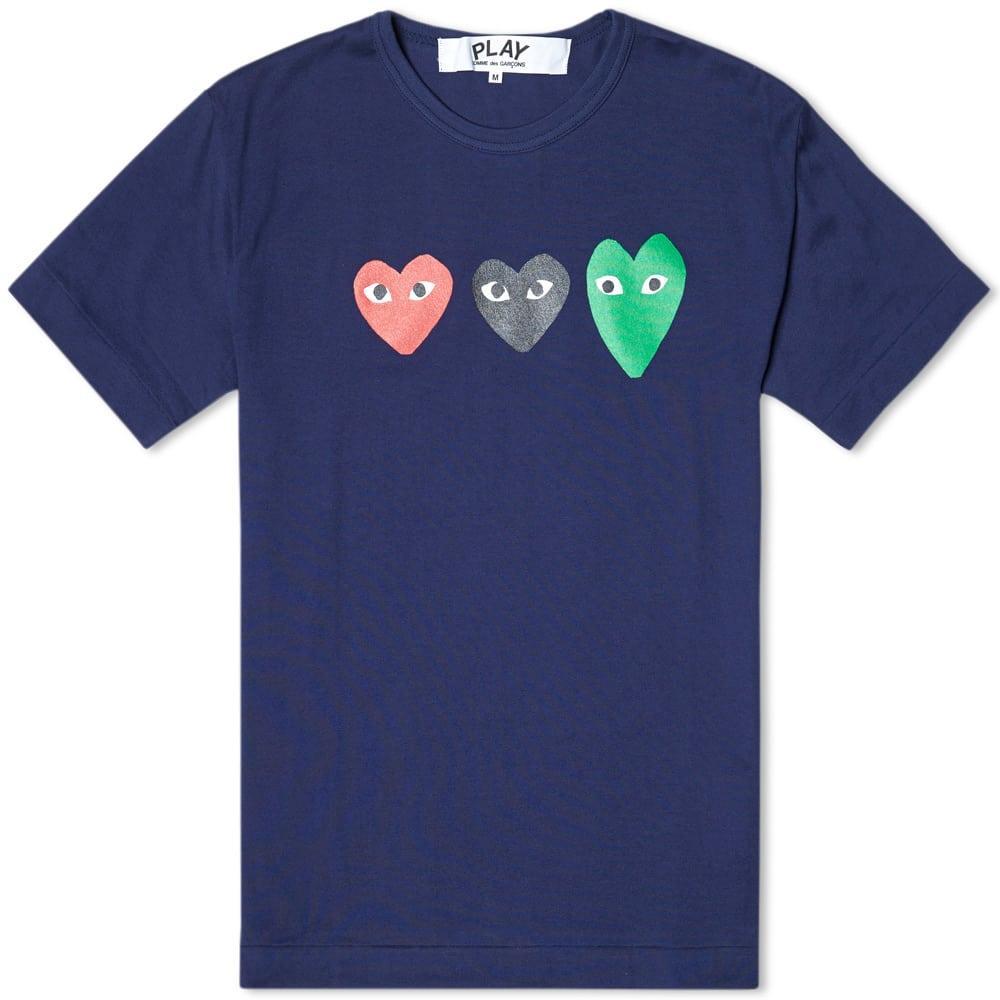 Comme Des GarÇons Play Comme Des Garcons Play Triple Heart Tee In Blue