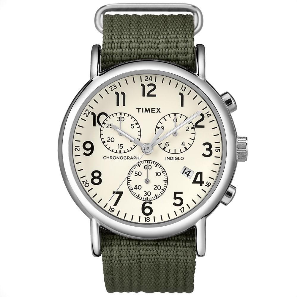 Timex Weekender Chrono Oversized Watch In Green