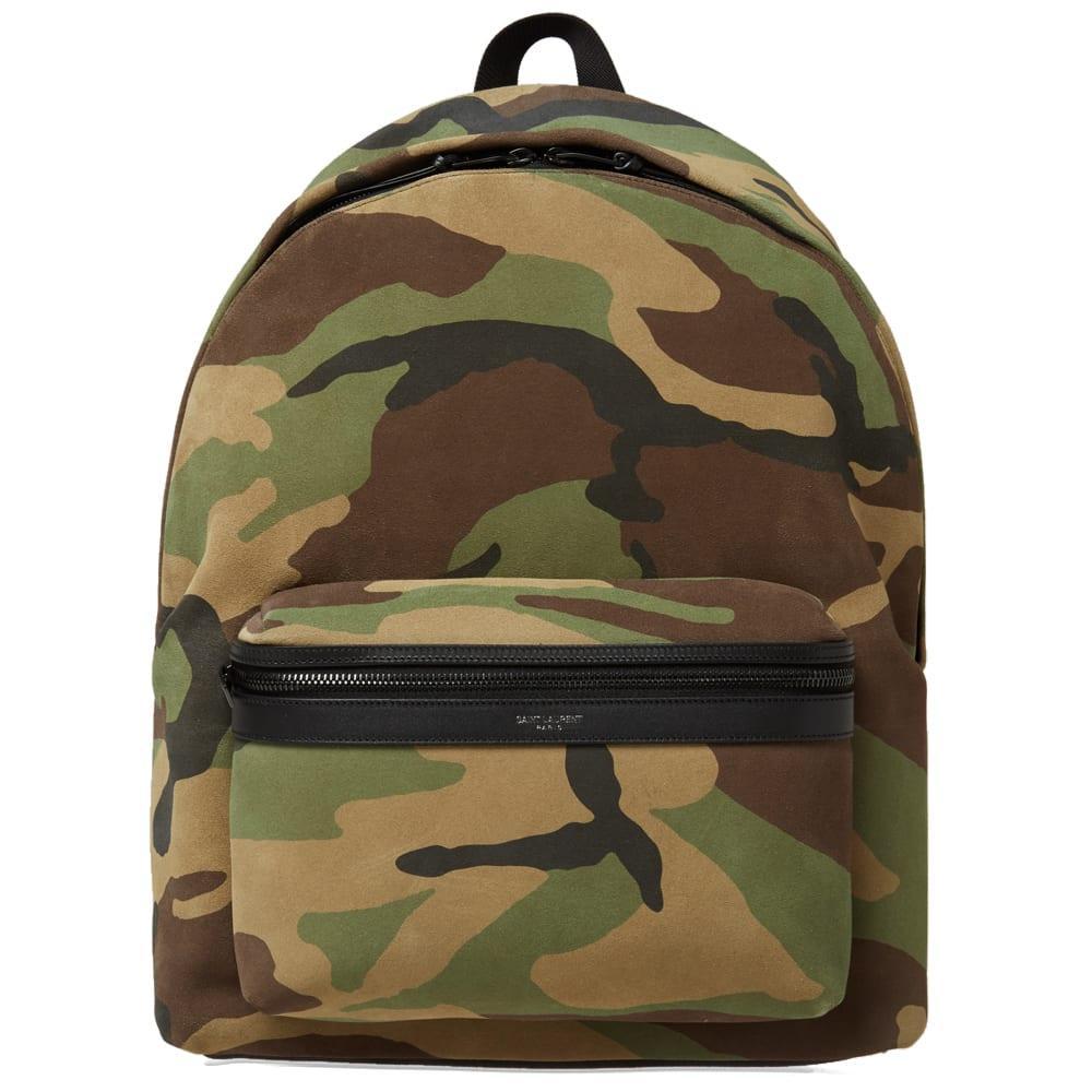 Saint Laurent Suede Backpack In Green
