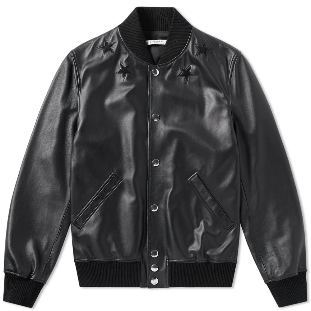 Givenchy Tonal Leather Varsity Jacket In Black
