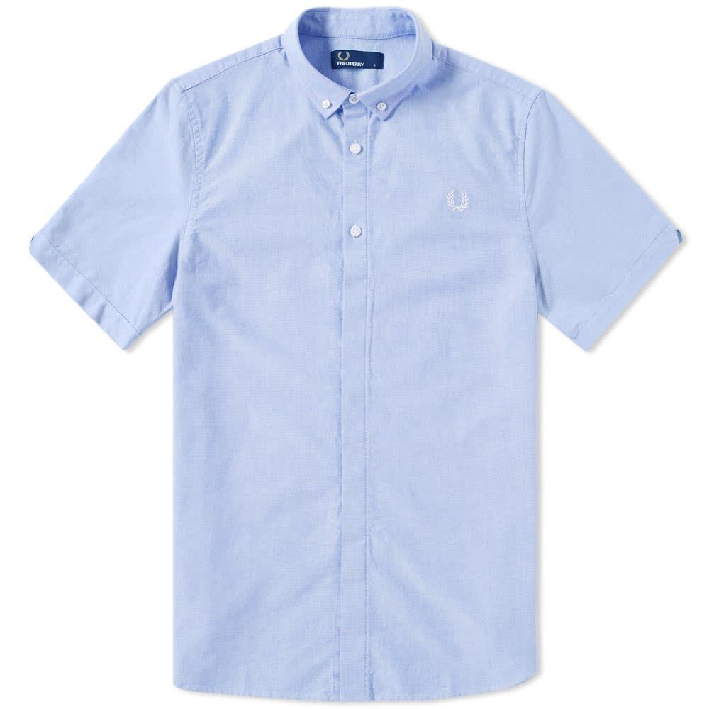 Fred Perry Classic Short Sleeve Oxford Shirt In Blue