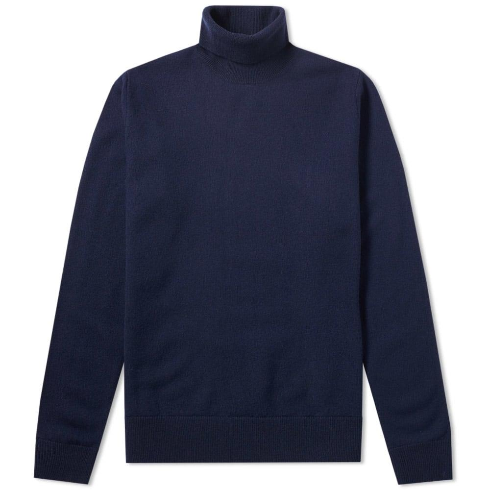 Norse Projects Marius Boiled Wool Rollneck Knit In Blue