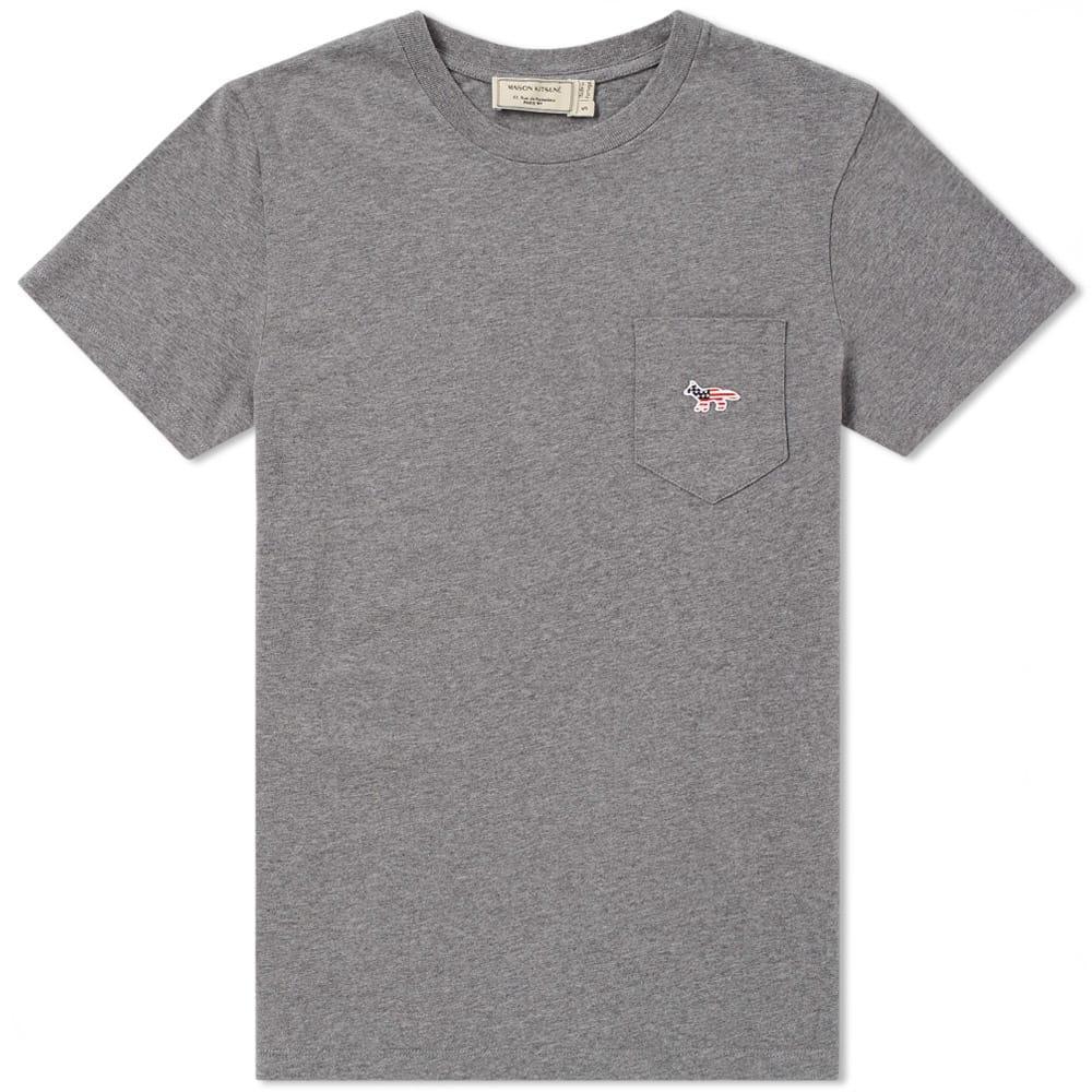 Maison KitsunÉ Fox Patch America Tee In Grey