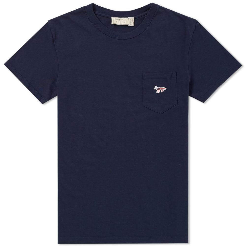Maison KitsunÉ Fox Patch America Tee In Blue