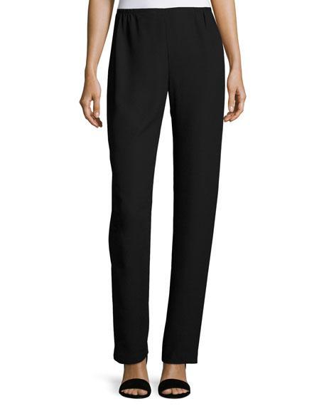 Caroline Rose Satin-back Crepe Straight-leg Pants, Black