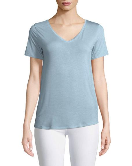 Majestic Soft Touch Short-sleeve Top In Parisian Blue