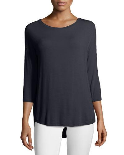 Majestic Soft Touch Boat-neck Top In Marine