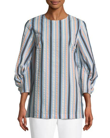 Lela Rose Full-sleeve Striped Blouse In Blue Pattern