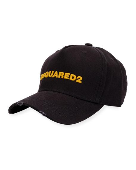 Dsquared2 Logo Distressed Baseball Cap In Navy