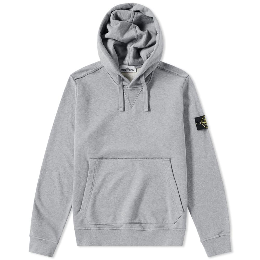 Stone Island Garment Dyed Popover Hoody In Grey