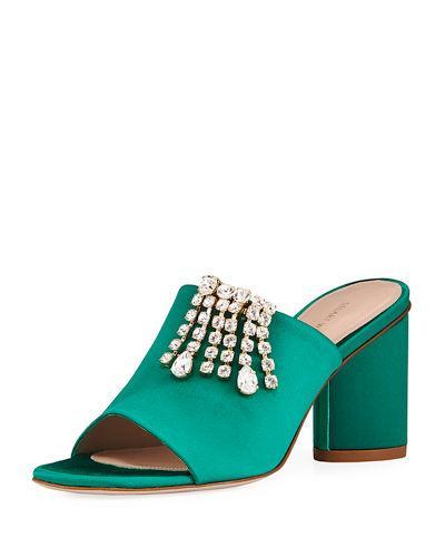 Stuart Weitzman Theone Embellished Satin Mule Sandal In Kelly Green