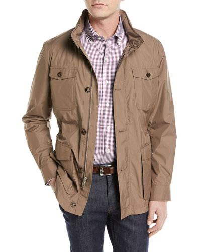 Peter Millar Discovery All-weather Jacket With Pack-away Hood In Brown