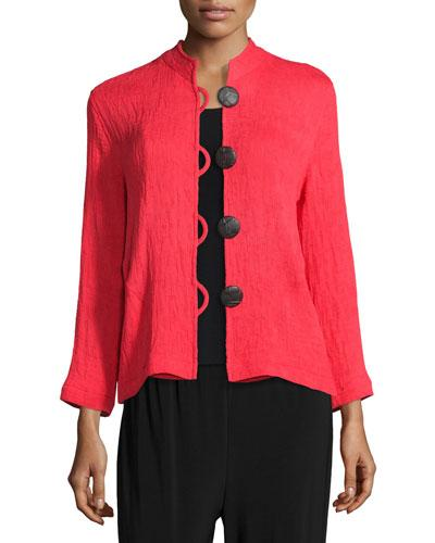 Caroline Rose Mini-pleated Mandarin-collar Jacket, Plus Size In Red
