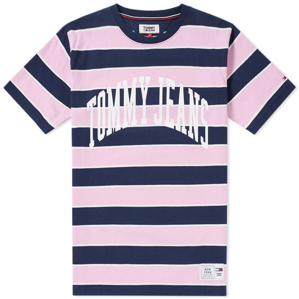 Tommy Jeans Collegiate Stripe Tee In Pink