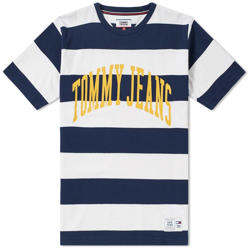 Tommy Jeans Collegiate Stripe Tee In Blue