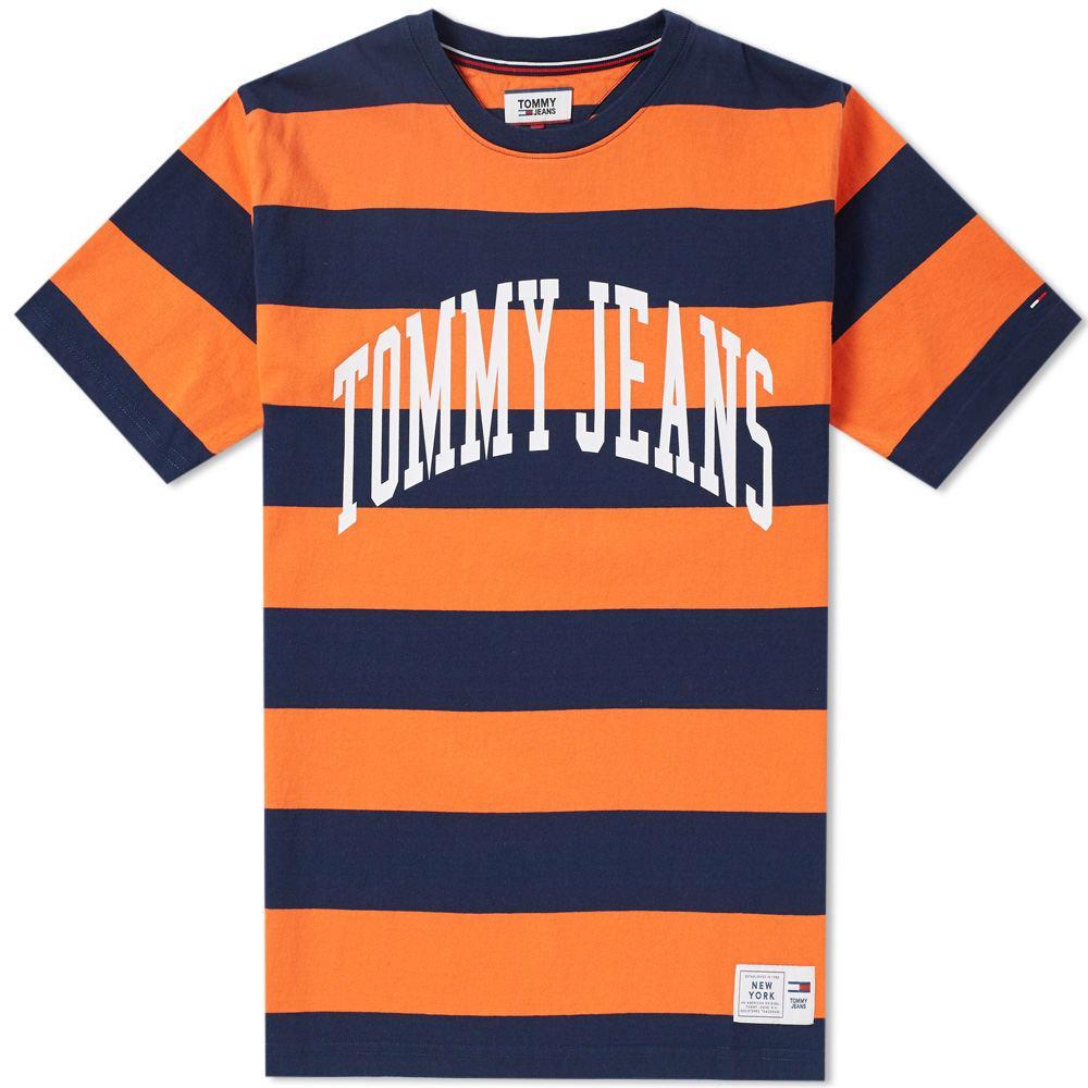 Tommy Jeans Collegiate Stripe Tee In Orange