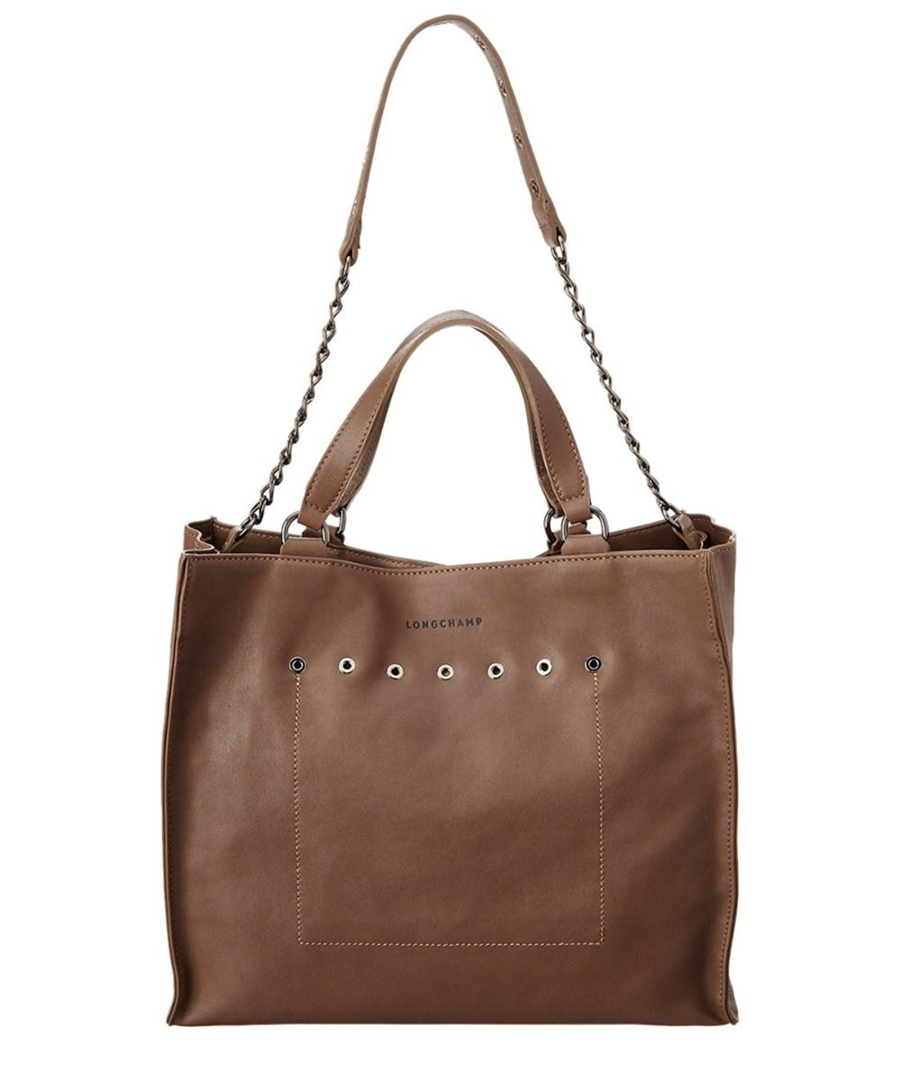 Longchamp Paris Rocks Leather Top Handle Tote In Taupe