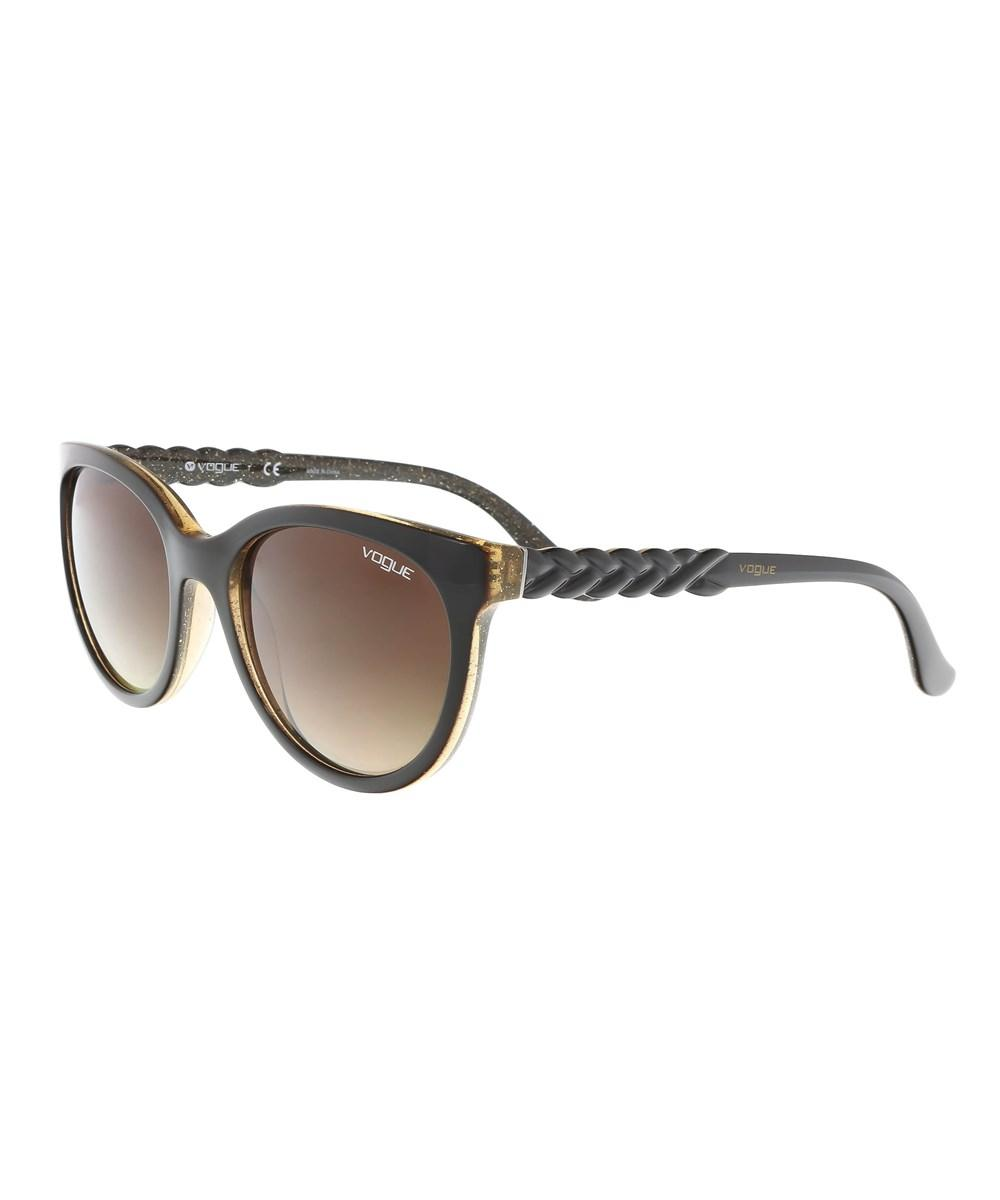 Vogue Vo2915s 225913 3n Chocolate/gold Round Sunglasses In Brown