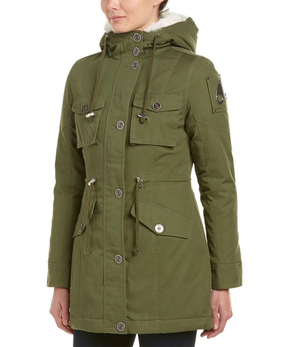 Moose Knuckles Long Canvas Jacket In Green