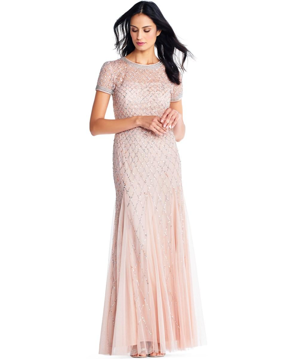 ADRIANNA PAPELL. Adrianna Papell Cap Sleeve Beaded Gown ...