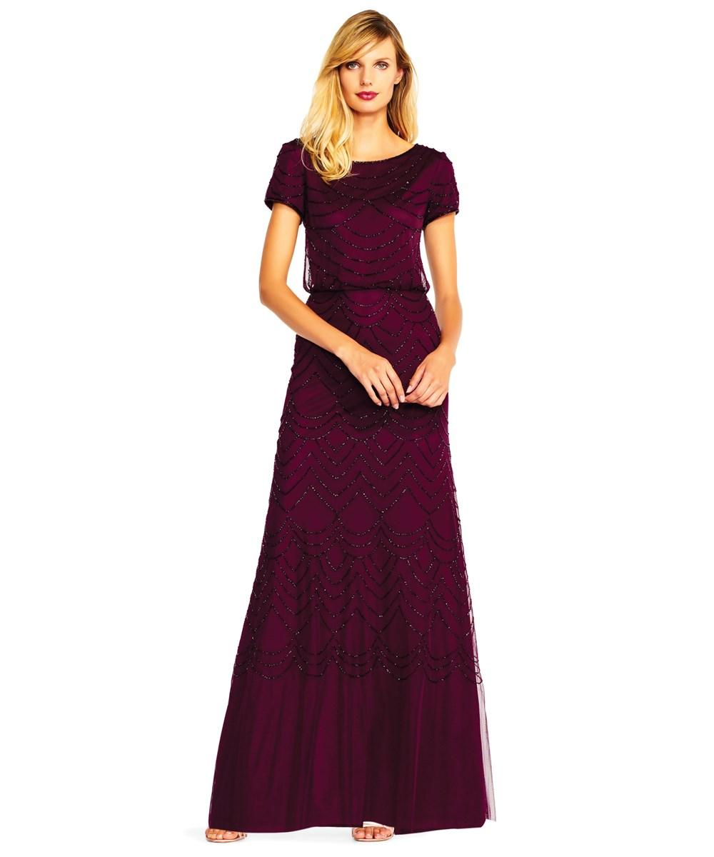 Adrianna Papell Short Sleeve Beaded Blouson Gown In Cassis