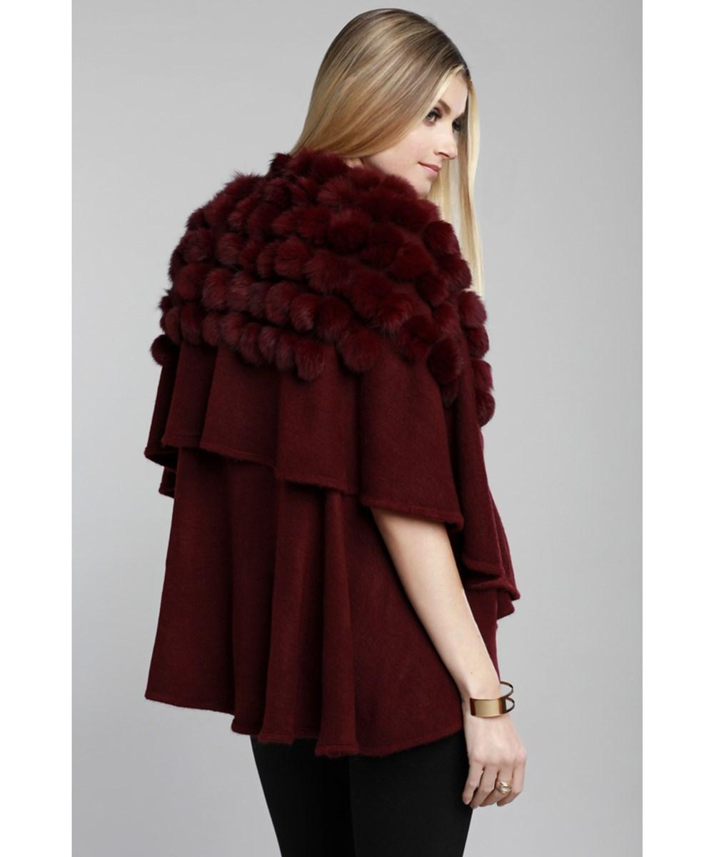 Dolce Cabo Natural Fur And Knit Vest In Wine