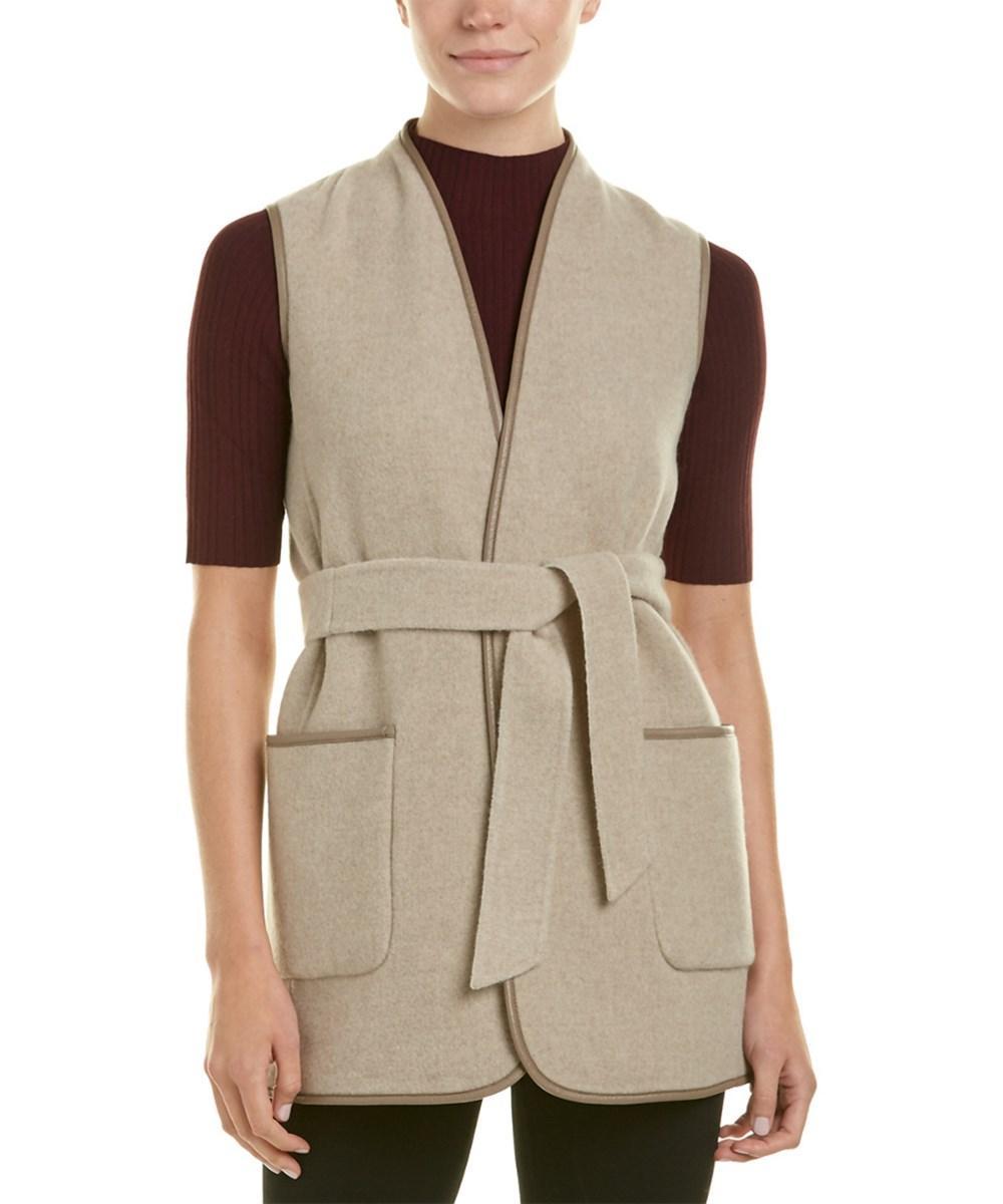 Max Mara Wool-blend Vest In Tan
