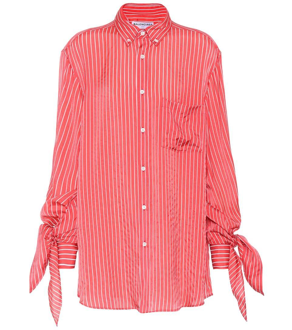 Balenciaga Striped Shirt In Red