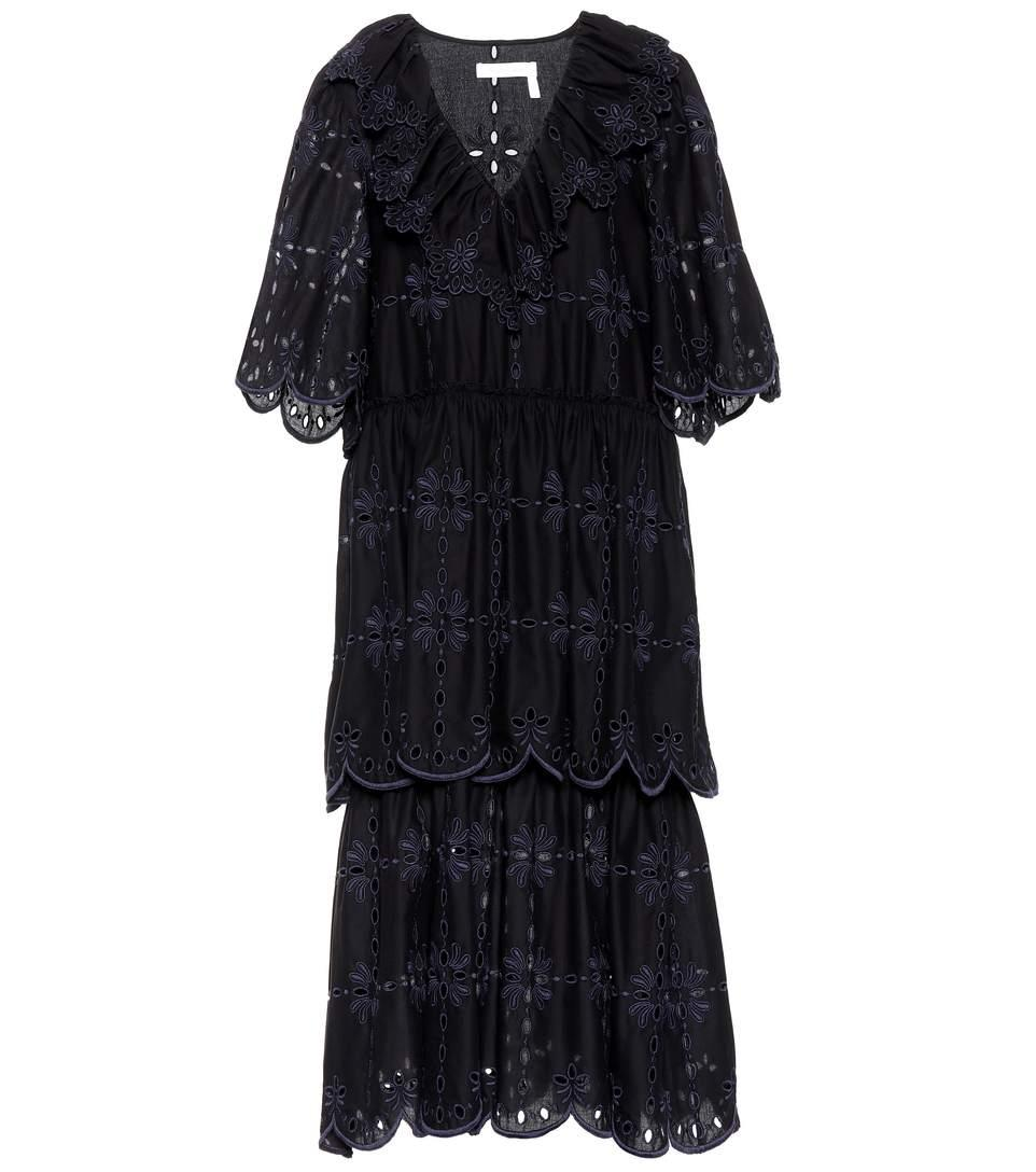 See By ChloÉ Embroidered Cotton Dress In Black