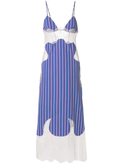 Off-white Striped Cotton And Lace Slip Dress In Blue