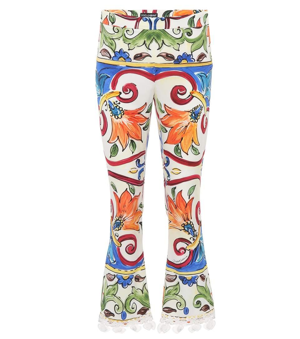 Dolce & Gabbana Maiolica-print Cropped Pant W/ Crochet Cuff Detail In Multicoloured