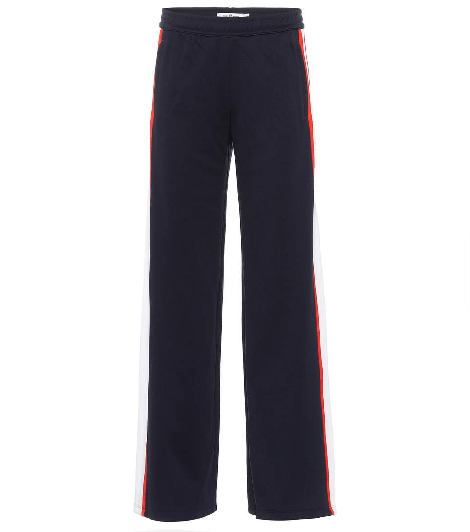 Tory Sport Cotton-blend Striped Trackpants In Blue