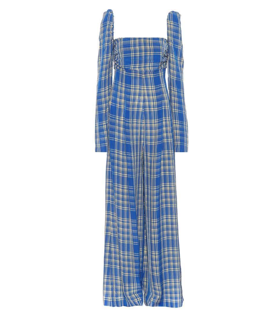 Rosie Assoulin Off-the-shoulder Plaid Jumpsuit In Blue