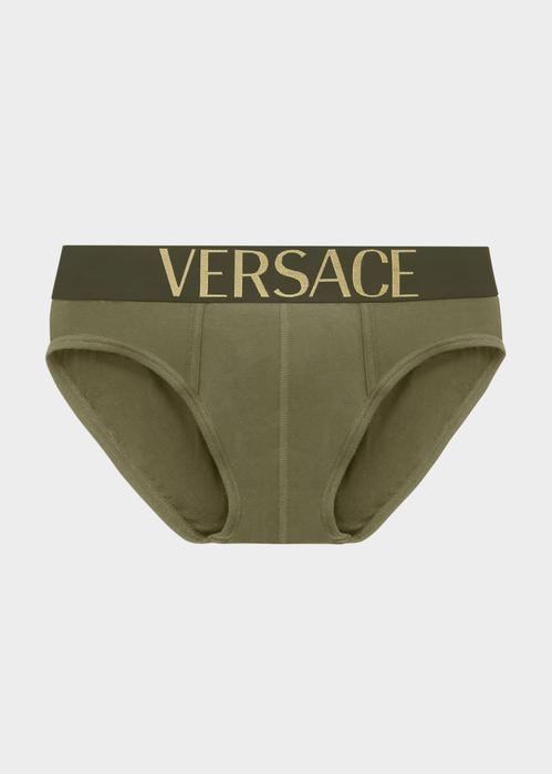 Versace Logo Briefs In Green
