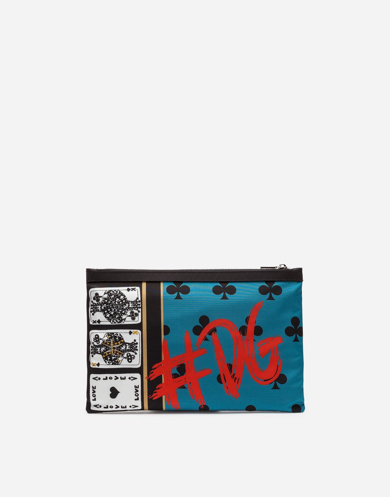 Dolce & Gabbana Printed Nylon Document Holder In Multicolor