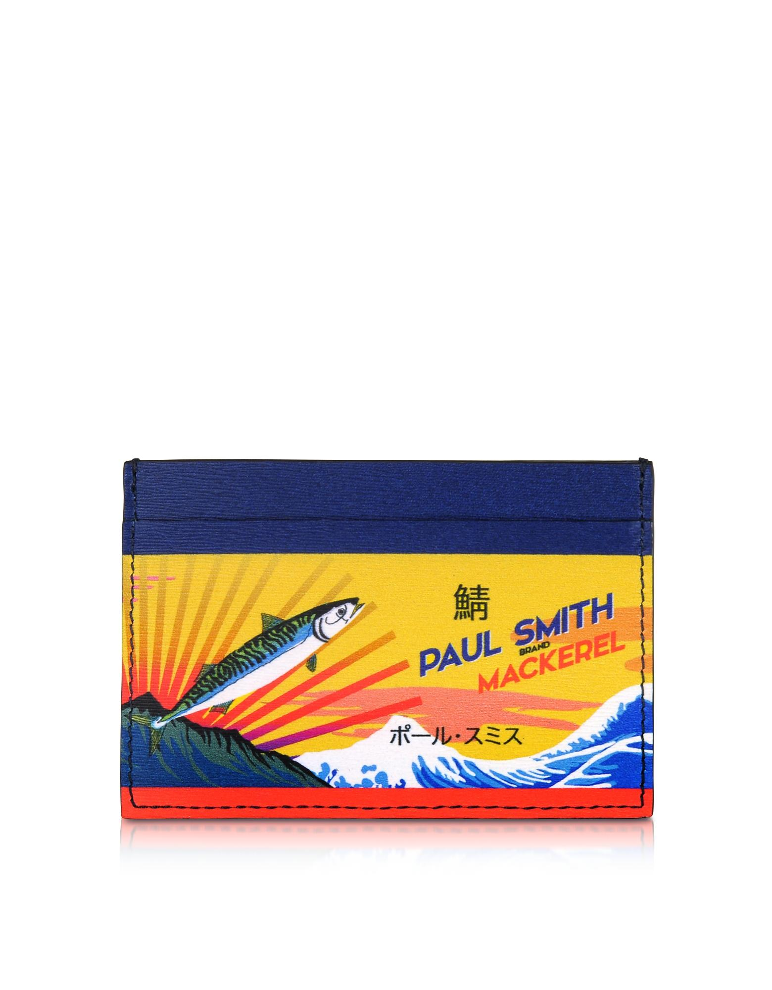 Paul Smith Mackerel Print Leather Credit Card Holder