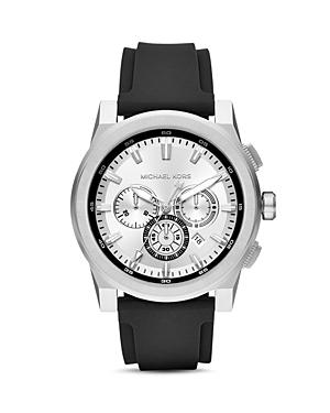 Michael Kors Grayson Silicone Strap Chronograph, 47mm X 53mm In Black/ Silver