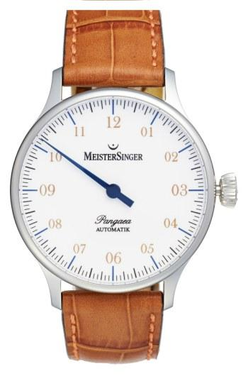 Meistersinger 'pangaea - Pm901' Automatic Leather Strap Watch, 40mm In Grey/ White
