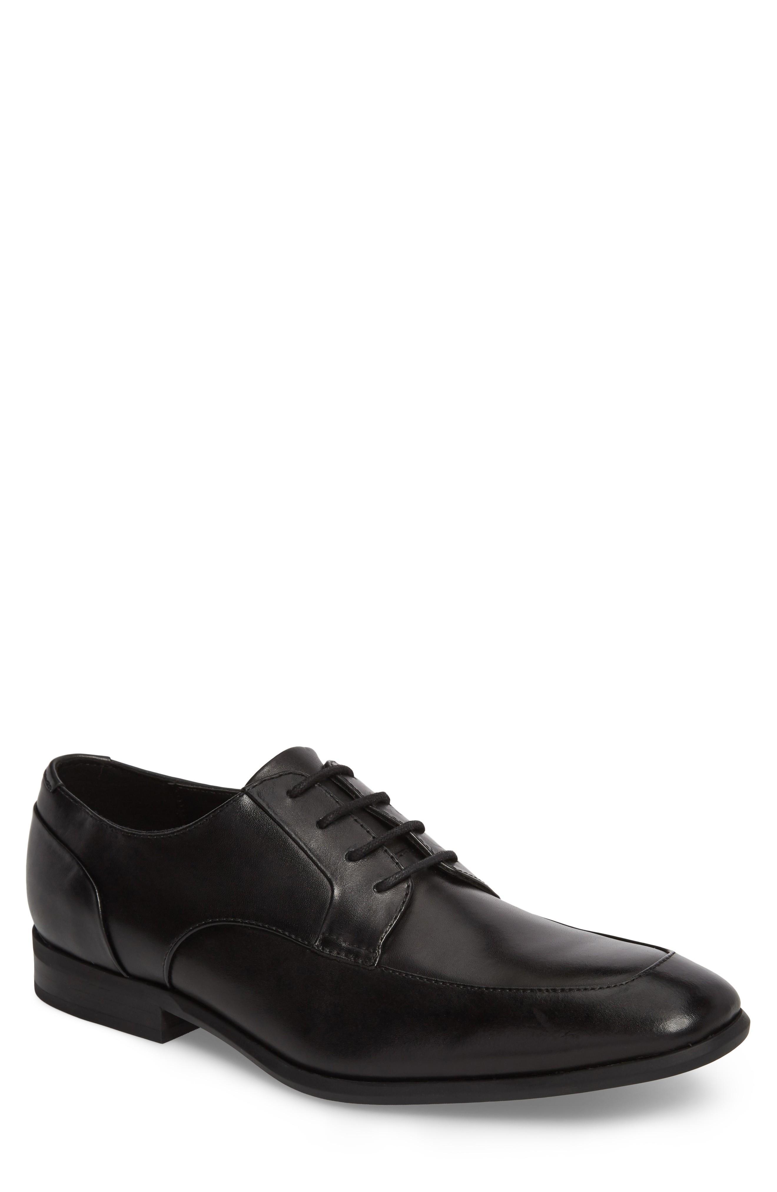 Calvin Klein Lazarus Apron Toe Derby In Black Leather