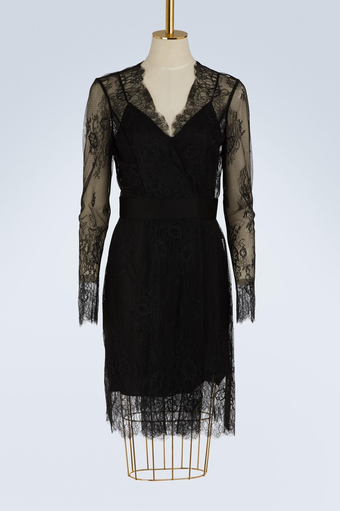Diane Von Furstenberg Short Lace Dress In Black