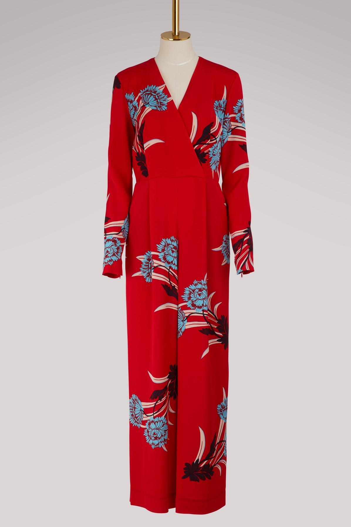 Diane Von Furstenberg Silk Jumpsuit In Farren Lipstick