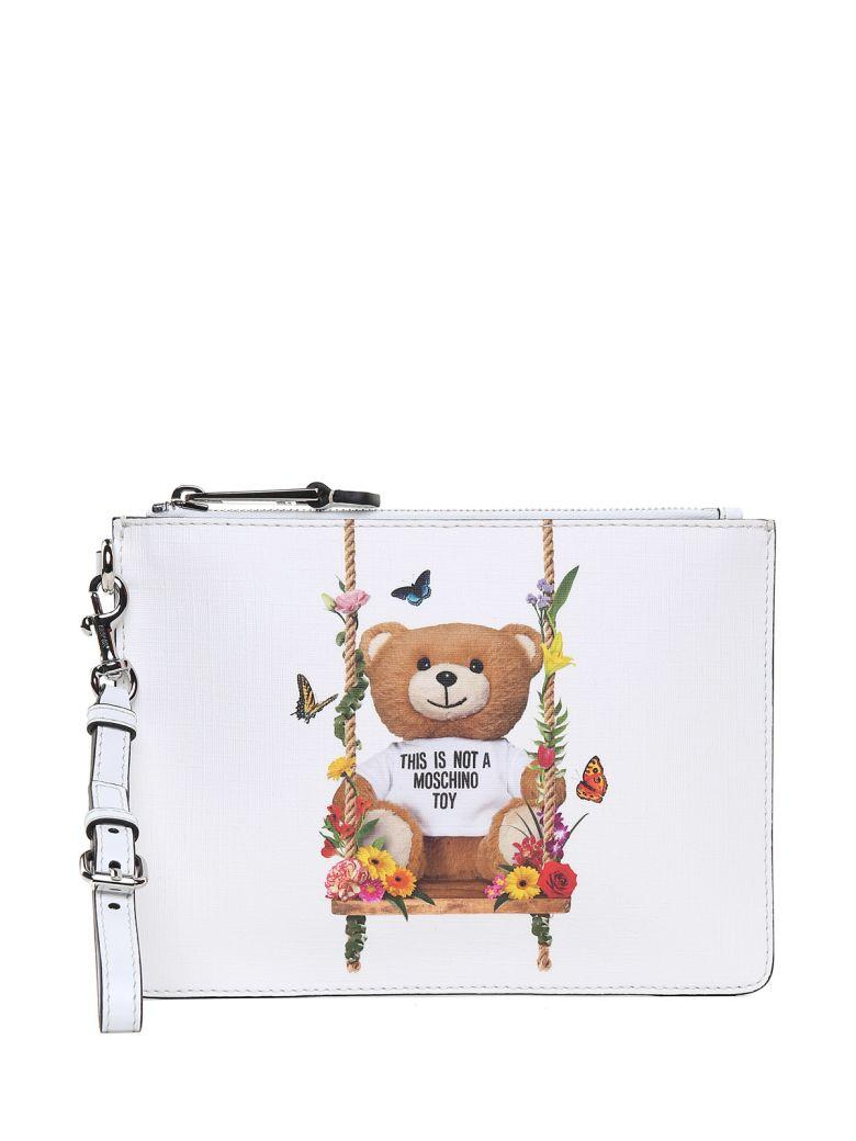 Moschino Teddy Flowers Faux-leather Clutch Bag In Bianco