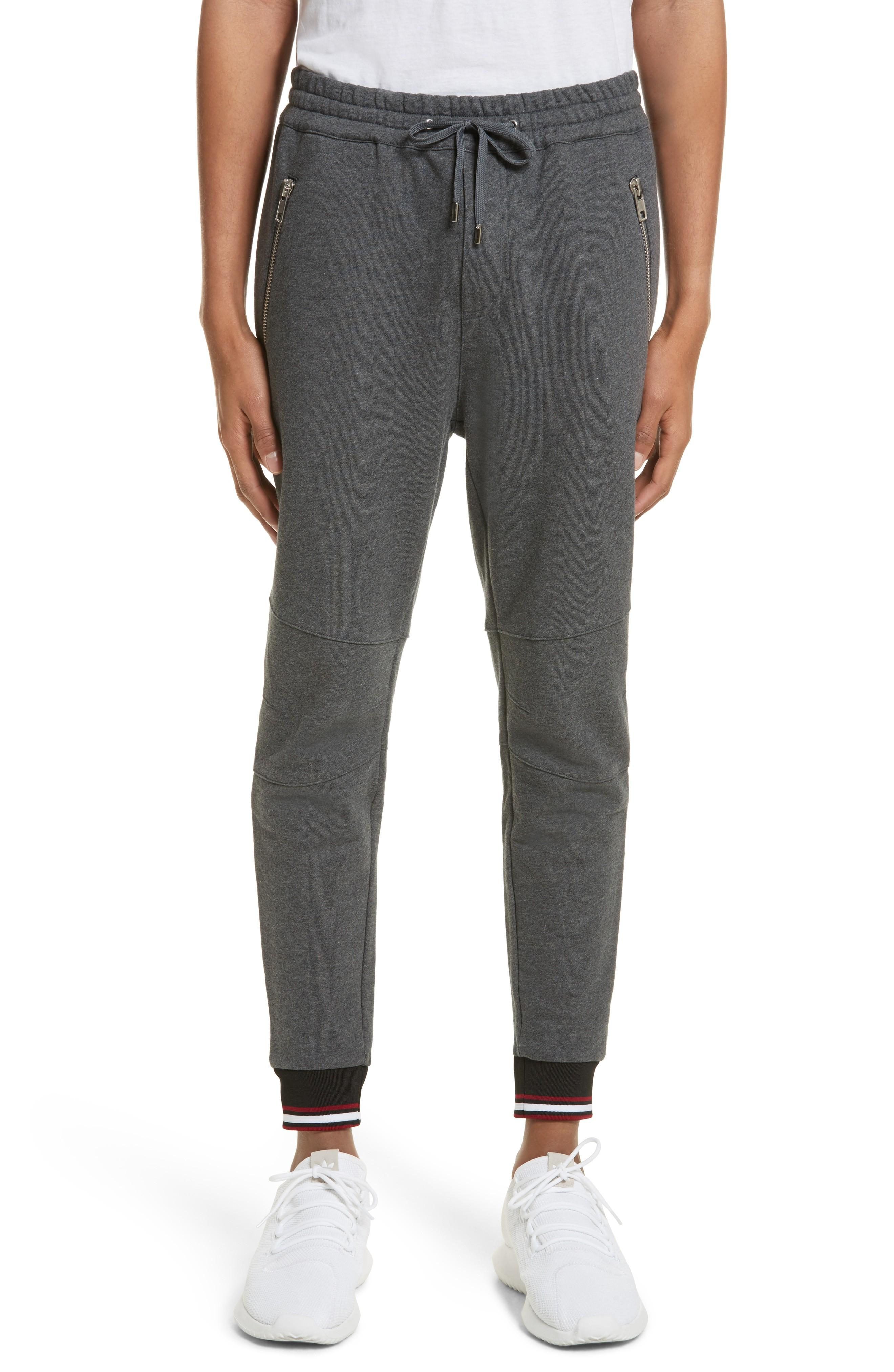 The Kooples Tricolored-cuff Regular Fit Sweatpants In Grey