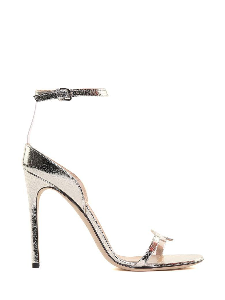 Sergio Rossi Karen Cracked-lamÉ Leather Sandals In Argento