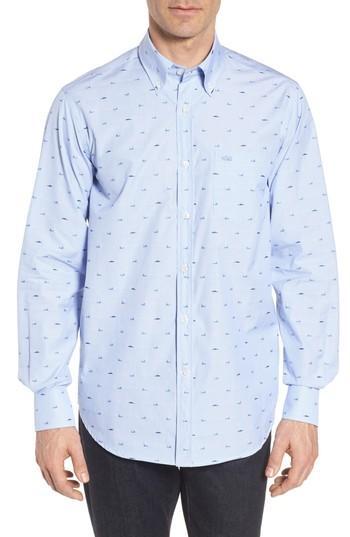 Paul & Shark Great White Jacquard Sport Shirt In Blue