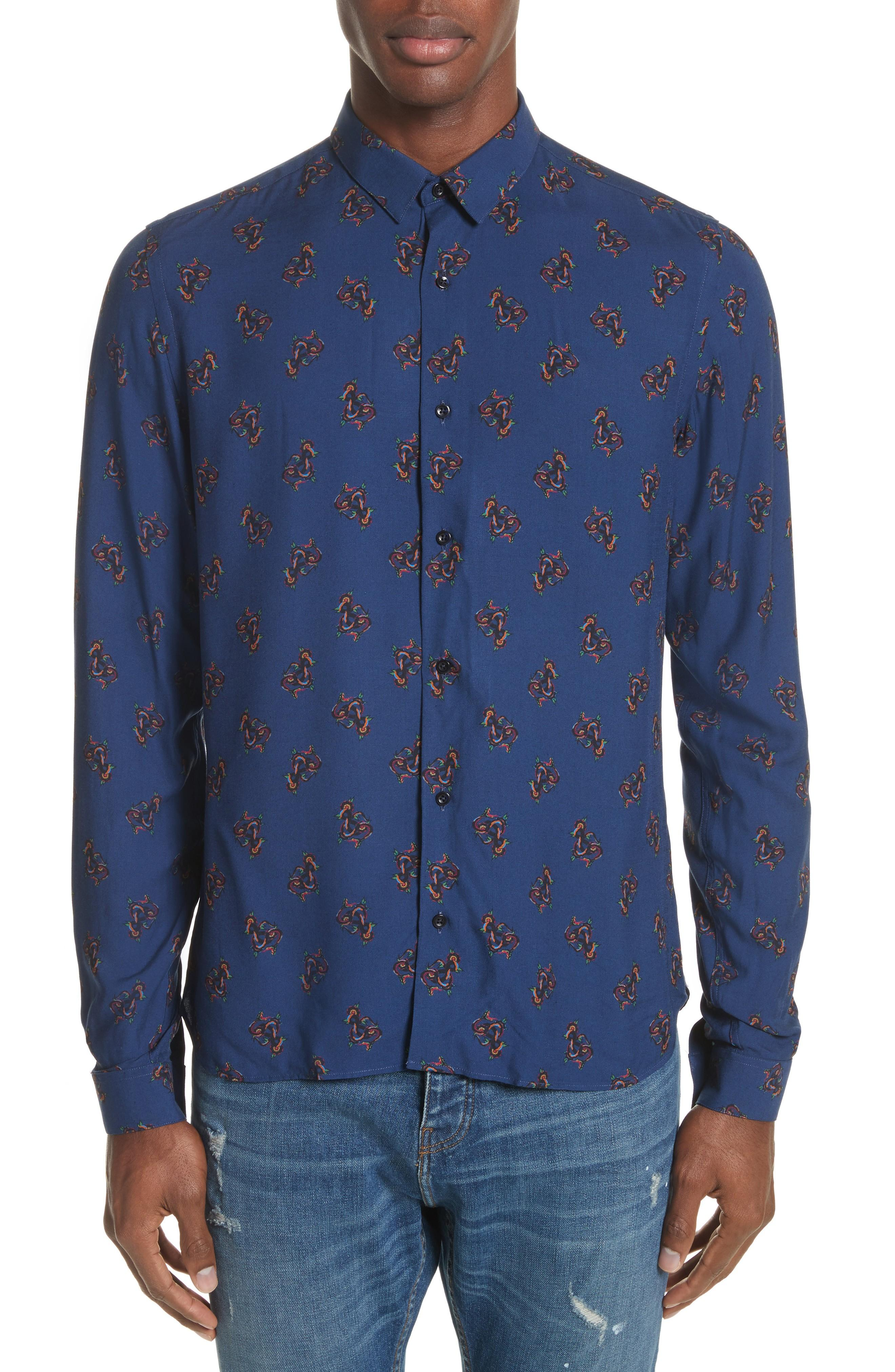 The Kooples Print Woven Shirt In Navy