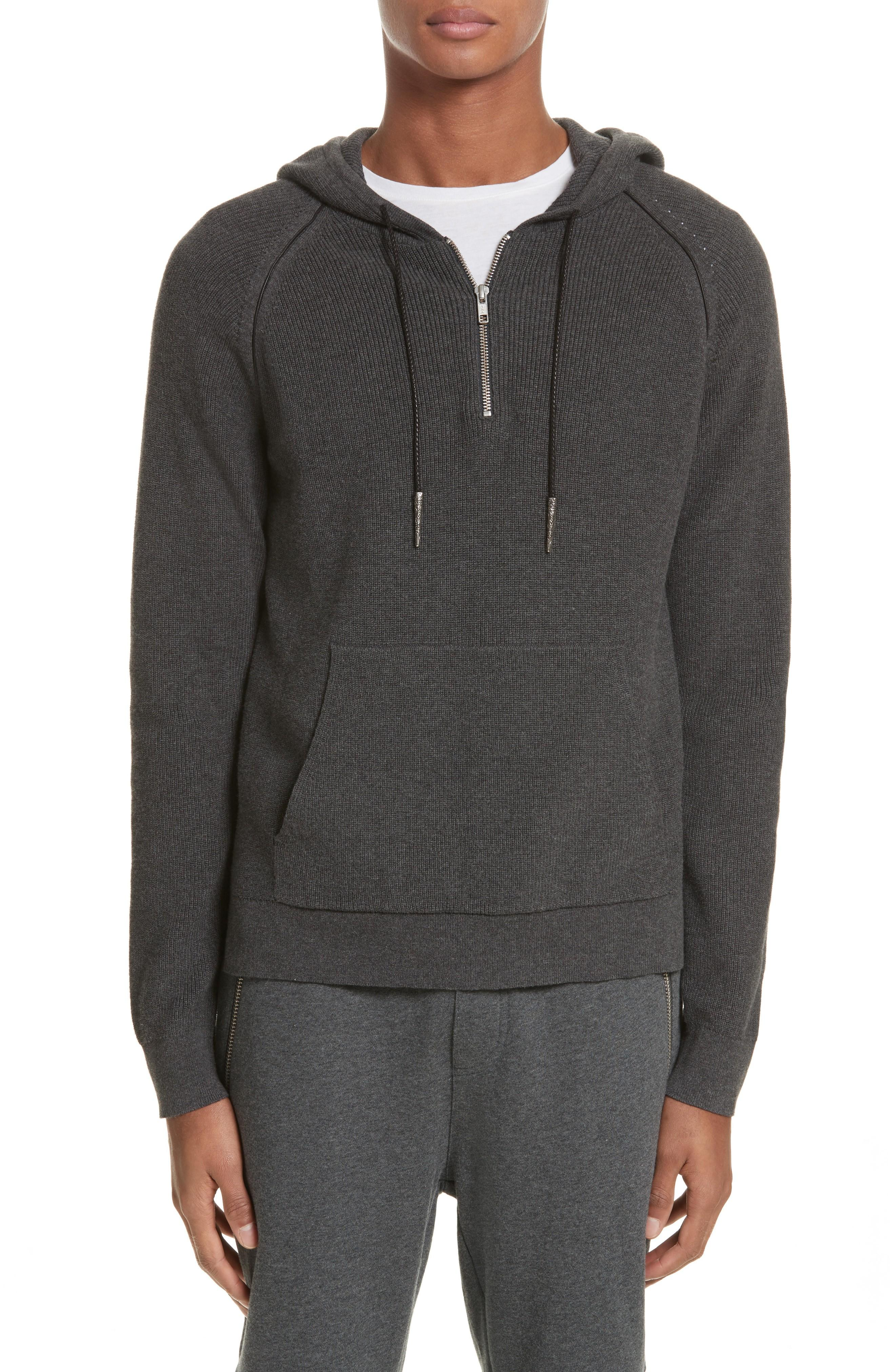 The Kooples Quarter Zip Hoodie In Grey